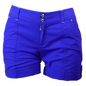 INC Goddess Blue Cuffed Curvy-Fit Shorts